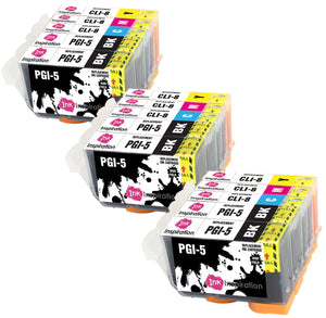 INK INSPIRATION® Replacement for Canon PGI-5 CLI-8 Ink Cartridges 15-Pack, Use with Canon Pixma iX4000 iX5000 iP3300 iP3500 MP510 MP520 MX700, Black/Cyan/Magenta/Yellow