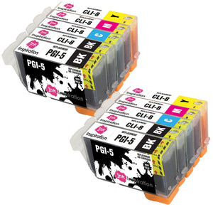INK INSPIRATION® Replacement for Canon PGI-5 CLI-8 Ink Cartridges 10-Pack, Use with Canon Pixma iP4200 iP4300 iP4500 iP5200 iP5200R iP5300 MP500 MP600 MP600R MP610 MP800 MP800R MP810 MP830 MX850