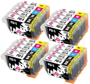 INK INSPIRATION® Replacement for Canon PGI-5 CLI-8 Ink Cartridges 20-Pack, Use with Canon Pixma iP4200 iP4300 iP4500 iP5200 iP5200R iP5300 MP500 MP600 MP600R MP610 MP800 MP800R MP810 MP830 MX850