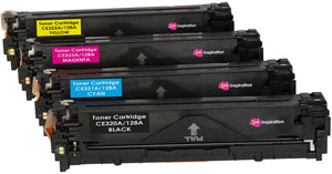 Ink Inspiration Set of 4  Compatible Laser Toner Cartridges for HP Laserjet Pro CM1415FN CM1415FNW CP1525 CP1525N CP1525NW | Replacement for HP 128A CE320A 2,200 Pages CE321A CE322A CE323A 1,400 Pages - ink-inspiration
