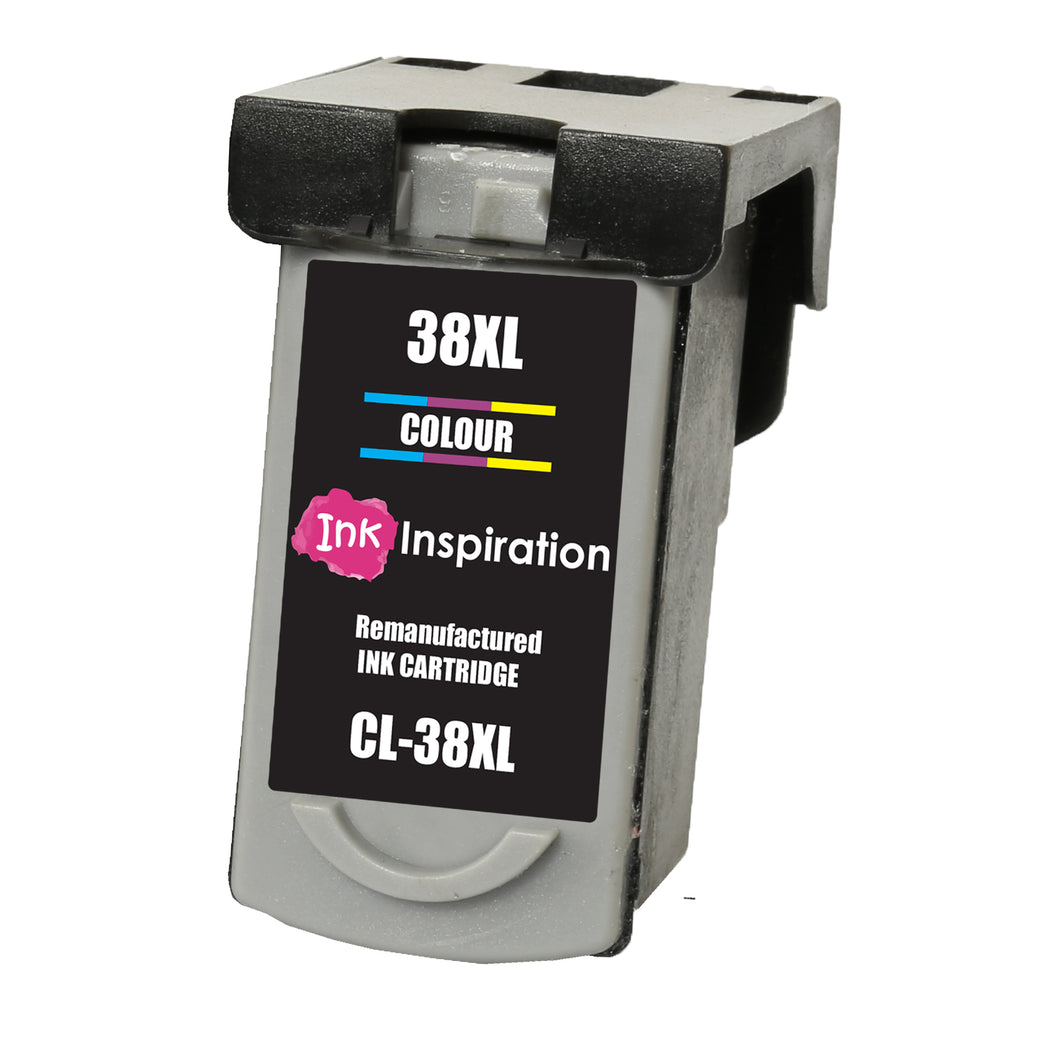 INK INSPIRATION® TRI-COLOUR Remanufactured Ink Cartridge for Canon CL-38 CL38 Pixma MP210 MP220 MX310 MX300 MP140 MP190 MP470 iP1800 iP1900 iP2500 iP2600 | High Capacity
