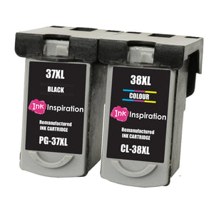 INK INSPIRATION® 2 Remanufactured Ink Cartridges for Canon PG-37 CL-38 Pixma MP210 MP220 MX310 MX300 MP140 MP190 MP470 iP1800 iP1900 iP2500 iP2600 | High Capacity