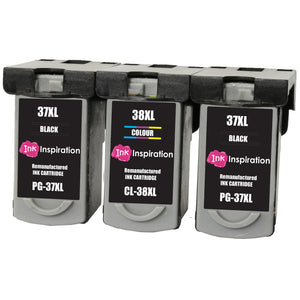 INK INSPIRATION® 3 Remanufactured Ink Cartridges for Canon PG-37 CL-38 Pixma MP210 MP220 MX310 MX300 MP140 MP190 MP470 iP1800 iP1900 iP2500 iP2600 | High Capacity