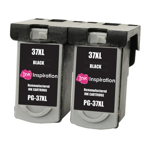 INK INSPIRATION® 2 BLACK Remanufactured Ink Cartridges for Canon PG-37 PG37 Pixma MP210 MP220 MX310 MX300 MP140 MP190 MP470 iP1800 iP1900 iP2500 iP2600 | High Capacity