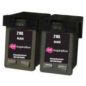 INK INSPIRATION® 2 BLACK Remanufactured Ink Cartridges Replacement for HP 21 21XL Deskjet F2120 F2180 F2280 F335 F375 F380 F390 F4180 F4190 3940 D1460 D2360 D2460 Officejet 4315 4355 PSC 1410 1415