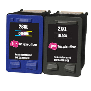 INK INSPIRATION® 2 Remanufactured Ink Cartridges Replacement for HP 27 28 Deskjet 3320 3325 3420 3520 3535 3550 3620 3650 5650 5850 Fax 1240 PSC 1110 1205 1210 1215 1315 1317 Officejet 4215