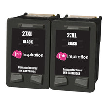 Load image into Gallery viewer, INK INSPIRATION® 2 BLACK Remanufactured Ink Cartridges Replacement for HP 27 Deskjet 3320 3325 3420 3520 3535 3550 3620 3650 5650 5850 Fax 1240 PSC 1110 1205 1210 1215 1315 1317 Officejet 4215