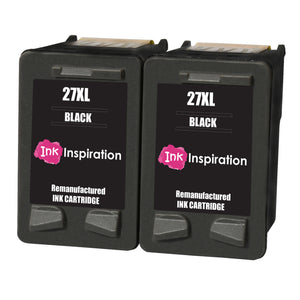 INK INSPIRATION® 2 BLACK Remanufactured Ink Cartridges Replacement for HP 27 Deskjet 3320 3325 3420 3520 3535 3550 3620 3650 5650 5850 Fax 1240 PSC 1110 1205 1210 1215 1315 1317 Officejet 4215