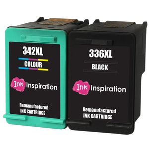 INK INSPIRATION® 2 Remanufactured Ink Cartridges Replacement for HP 336 342 Photosmart 2570 2575 2710 8150 C3180 C4180 D5160 DeskJet 5440 6310 Officejet 6315 PSC 1510 | High Capacity