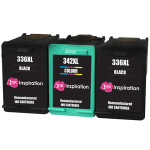 INK INSPIRATION® 3 Remanufactured Ink Cartridges Replacement for HP 336 342 Photosmart 2570 2575 2710 8150 C3180 C4180 D5160 DeskJet 5440 6310 Officejet 6315 PSC 1510 | High Capacity