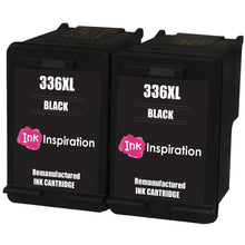 Cargar imagen en el visor de la galería, INK INSPIRATION® 2 BLACK Remanufactured Ink Cartridges Replacement for HP 336 Photosmart 2570 2575 2710 8150 C3180 C4180 D5160 DeskJet 5440 6310 Officejet 6315 PSC 1510 | High Capacity
