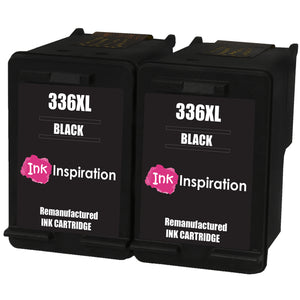 INK INSPIRATION® 2 BLACK Remanufactured Ink Cartridges Replacement for HP 336 Photosmart 2570 2575 2710 8150 C3180 C4180 D5160 DeskJet 5440 6310 Officejet 6315 PSC 1510 | High Capacity