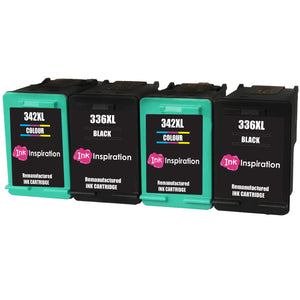 INK INSPIRATION® 4 Remanufactured Ink Cartridges Replacement for HP 336 342 Photosmart 2570 2575 2710 8150 C3180 C4180 D5160 DeskJet 5440 6310 Officejet 6315 PSC 1510 | High Capacity