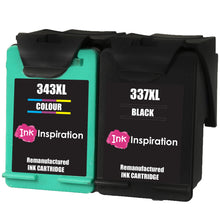 Load image into Gallery viewer, INK INSPIRATION® 2 Remanufactured Ink Cartridges Replacement for HP 337 343 Photosmart 2500 2570 2573 2575 C4140 C4150 C4180 C4190 D5160 8049 Officejet 6300 6310 6315 Deskjet D4160 5940
