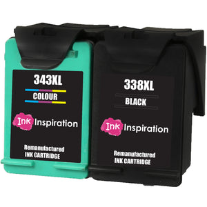 INK INSPIRATION® 2 Remanufactured Ink Cartridges Replacement for HP 338 343 Photosmart 2575 2610 2710 8150 8450 8750 C3180 DeskJet 460c 6540 6620 9800 PSC 1610 2355 Officejet 100 150 6210 H470