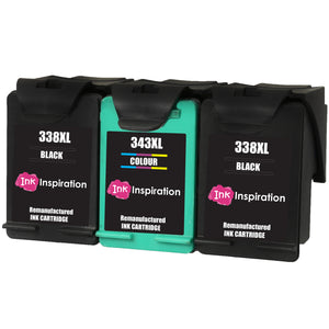 INK INSPIRATION® 3 Remanufactured Ink Cartridges Replacement for HP 338 343 Photosmart 2575 2610 2710 8150 8450 8750 C3180 DeskJet 460c 6540 6620 9800 PSC 1610 2355 Officejet 100 150 6210 H470