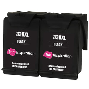 INK INSPIRATION® 2 BLACK Remanufactured Ink Cartridges Replacement for HP 338 Photosmart 2575 2610 2710 8150 8450 8750 C3180 DeskJet 460c 6540 6620 9800 PSC 1610 2355 Officejet 100 150 6210 H470
