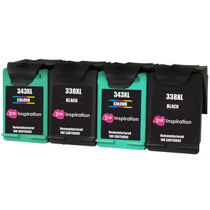 INK INSPIRATION® 4 Remanufactured Ink Cartridges Replacement for HP 338 343 Photosmart 2575 2610 2710 8150 8450 8750 C3180 DeskJet 460c 6540 6620 9800 PSC 1610 2355 Officejet 100 150 6210 H470