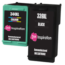 Load image into Gallery viewer, INK INSPIRATION® 2 Remanufactured Ink Cartridges Replacement for HP 339 344 DeskJet 5740 5745 5940 6540 6620 6840 6980 9800 Photosmart 2570 2573 2575 2605 2610 2710 8050 8150 8450 8750