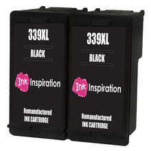 Load image into Gallery viewer, INK INSPIRATION® 2 BLACK Remanufactured Ink Cartridges Replacement for HP 339 DeskJet 5740 5745 5940 6540 6620 6840 6980 9800 Photosmart 2570 2573 2575 2605 2610 2710 8050 8150 8450 8750