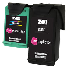 Load image into Gallery viewer, INK INSPIRATION® 2 Remanufactured Ink Cartridges Replacement for HP 350XL 351XL Photosmart C4280 C4340 C4380 C4480 C4485 C4524 C4580 C5280 D5360 Deskjet D4260 D4360 Officejet J6424 J5780 J5785