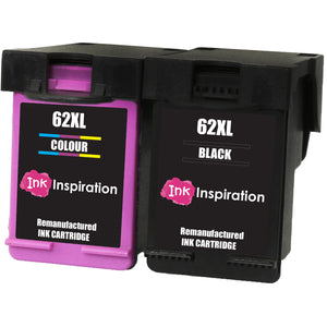 INK INSPIRATION® 2 Remanufactured Ink Cartridges Replacement for HP 62 62XL ENVY 5540 5600 5640 5642 5643 5644 5646 5660 5665 7600 7640 7645 Officejet 5740 5742 5744 5745 8040 8045
