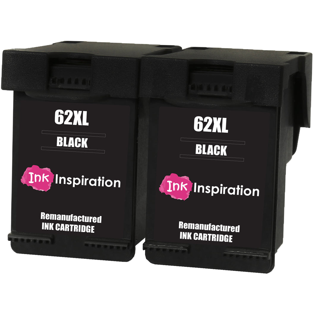 INK INSPIRATION® 2 BLACK Remanufactured Ink Cartridges Replacement for HP 62 62XL ENVY 5540 5600 5640 5642 5643 5644 5646 5660 5665 7600 7640 7645 Officejet 5740 5742 5744 5745 8040 8045