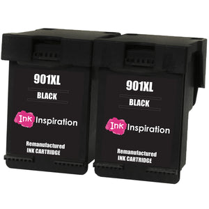 INK INSPIRATION® 2 BLACK Remanufactured Ink Cartridges Replacement for HP 901 901XL OfficeJet 4500 G510a G510g G510n J4500 J4524 J4535 J4540 J4550 J4580 J4585 J4600 J4624 J4640 J4660 J4680 J4680c