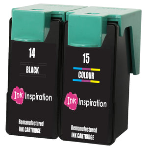 INK INSPIRATION® 2 Remanufactured for Lexmark No. 14 & 15 Ink Cartridges compatible with Lexmark Z2300 Z2310 Z2320 X2600 X2620 X2630 X2650 X2670 | High Capacity