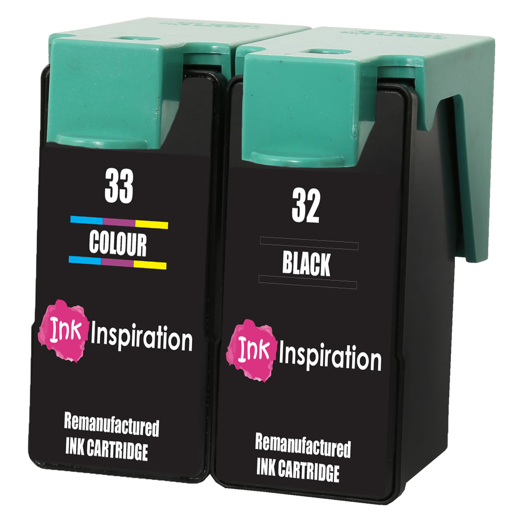 INK INSPIRATION® 2 Remanufactured for Lexmark No. 32 & 33 Ink Cartridges compatible with Lexmark P4350 P450 P6250 P6350 P915 X3330 X3350 X5250 X5260 X5270 X5470 X7170 X3350 Z800 Z805 Z812 Z815