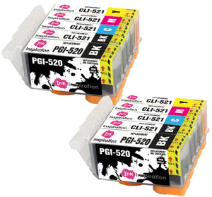 INK INSPIRATION® Replacement for Canon PGI-520 CLI-521 Ink Cartridges 10-Pack, Use with Canon Pixma MP560 MP640 MP630 MP620 iP4600 iP4700 iP3600 MP540 MP990 MP980 MP550 MX870 MX860