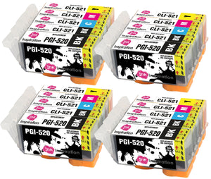 INK INSPIRATION® Replacement for Canon PGI-520 CLI-521 Ink Cartridges 20-Pack, Use with Canon Pixma MP560 MP640 MP630 MP620 iP4600 iP4700 iP3600 MP540 MP990 MP980 MP550 MX870 MX860