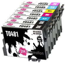 Load image into Gallery viewer, INK INSPIRATION® Replacement for Epson T0481-T0486 (T0487) Ink Cartridges 7-Pack, Use with Epson Stylus Photo R300 R220 R340 R200 R320 RX620 RX640, Black/Cyan/Magenta/Yellow/Light Cyan/Light Magenta