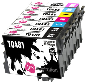 INK INSPIRATION® Replacement for Epson T0481-T0486 (T0487) Ink Cartridges 7-Pack, Use with Epson Stylus Photo R300 R220 R340 R200 R320 RX620 RX640, Black/Cyan/Magenta/Yellow/Light Cyan/Light Magenta