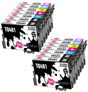 INK INSPIRATION® Replacement for Epson T0481-T0486 (T0487) Ink Cartridges 14-Pack, Use with Epson Stylus Photo R300 R220 R340 R200 R320 RX620 RX640, Black/Cyan/Magenta/Yellow/Light Cyan/Light Magenta