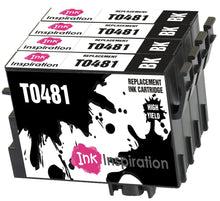 Load image into Gallery viewer, INK INSPIRATION® Replacement for Epson T0481 Black Ink Cartridges 4-Pack, Use with Epson Stylus Photo R300 R220 R340 R200 R320 RX500 RX600 RX620 RX640