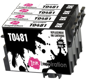 INK INSPIRATION® Replacement for Epson T0481 Black Ink Cartridges 4-Pack, Use with Epson Stylus Photo R300 R220 R340 R200 R320 RX500 RX600 RX620 RX640