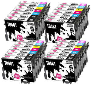INK INSPIRATION® Replacement for Epson T0481-T0486 (T0487) Ink Cartridges 28-Pack, Use with Epson Stylus Photo R300 R220 R340 R200 R320 RX620 RX640, Black/Cyan/Magenta/Yellow/Light Cyan/Light Magenta