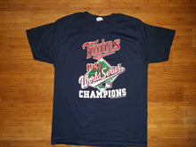 Load image into Gallery viewer, Vintage Mens Champion Minnesota Twins 1987 World Series Champions Tshirt Size XL-Navy Blue