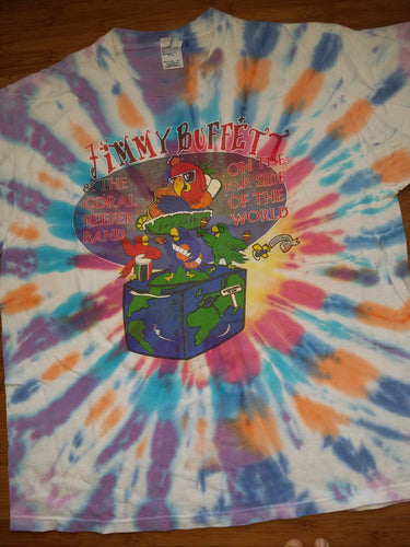 Vintage Mens 2002 Jimmy Buffet and The Coral Reefer Band On the Far Side of the World Tour Tie Dye Tshirt Size XL