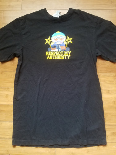Mens 2009 South Park Officer Cartman Respect My Authority Tshirt Size XL-Black