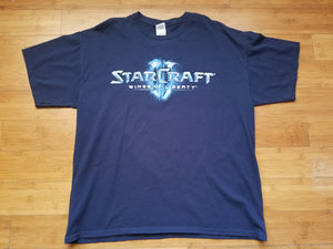 Mens Starcraft 2 Wings of Liberty Double Sided Tshirt Size XL-Navy Blue