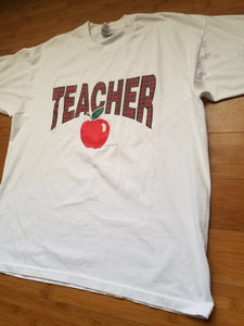 "Vintage Mens 1998 ""Teacher"" Tshirt Size XL-White"