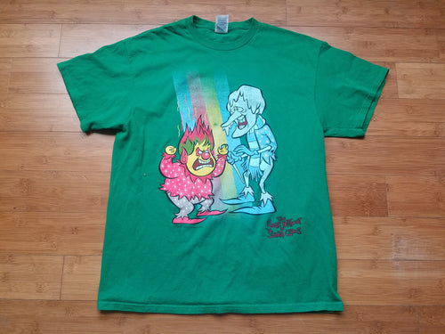 Mens The Year Without a Santa Claus Heat Miser and Snow Miser Tshirt Size Large-Green