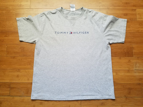 Vintage Mens Tommy Hilfiger Spellout Tshirt Size Large-Grey