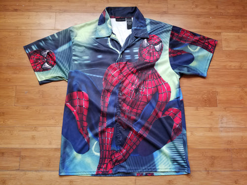 Vintage Mens Spider-Man Movie All Over Print Button Up Shirt Size Large