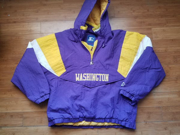 Vintage Mens Starter Washington Huskies 3/4 Pullover Jacket/Parka Size Large-Purple