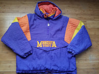 Vintage Mens Starter Minnesota State Screaming Eagles 3/4 Pullover Jacket/Parka Size Large-Purple