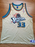 Vintage Mens Champion Detroit Pistons Grant Hill Jersey Size 48-Gold