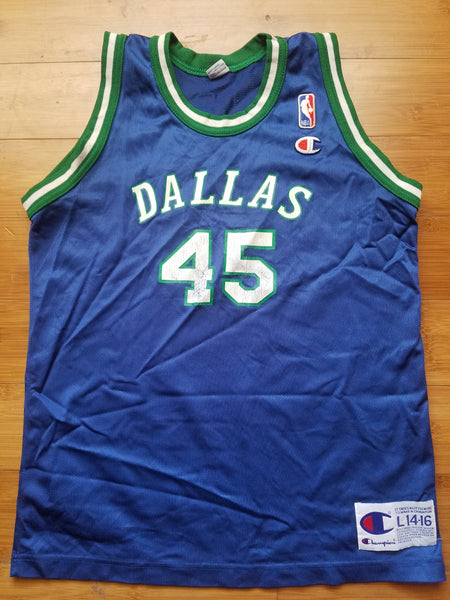 Rare Vintage Youth Champion Dallas Mavericks AC Green Jersey Size Large(14-16)-Blue